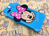 Резиновый 3D чехол для iPhone 6 (4,7 дюйма) Minnie голубой, фото 1