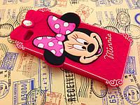 Резиновый 3D чехол для iPhone 6 (4,7 дюйма) Minnie малиновый