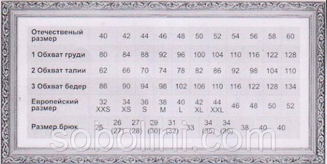 "размерная таблица интернет-магазина""Соболини"""