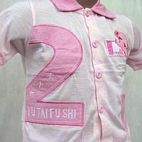 Кофта с коротким рукавом детская  бело-розовая XL-3XL