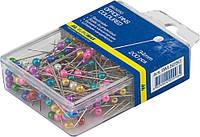 Булавки цветные 34мм, 200 шт., пластиковый контейнер