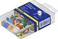 Кнопки цветные, пласт. покрытие, 100 шт., пласт.контейнер