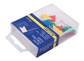 Кнопки-гвоздики кольорові прапорці 30 шт. пластиковий контейнер