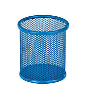 Подставка для ручек круглая 90х90х100мм, металлическая, синий