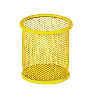 Подставка для ручек круглая 90х90х100мм, металлическая, желтый
