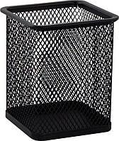 Подставка для ручек квадратная 80х80х95мм, металлическая, черная