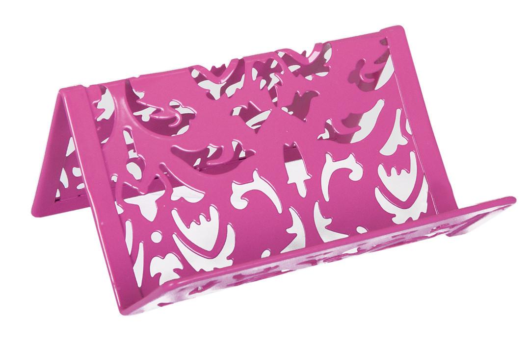 """Подставка для визиток Barocco"""" 100x97x47мм металлическая розовый"""
