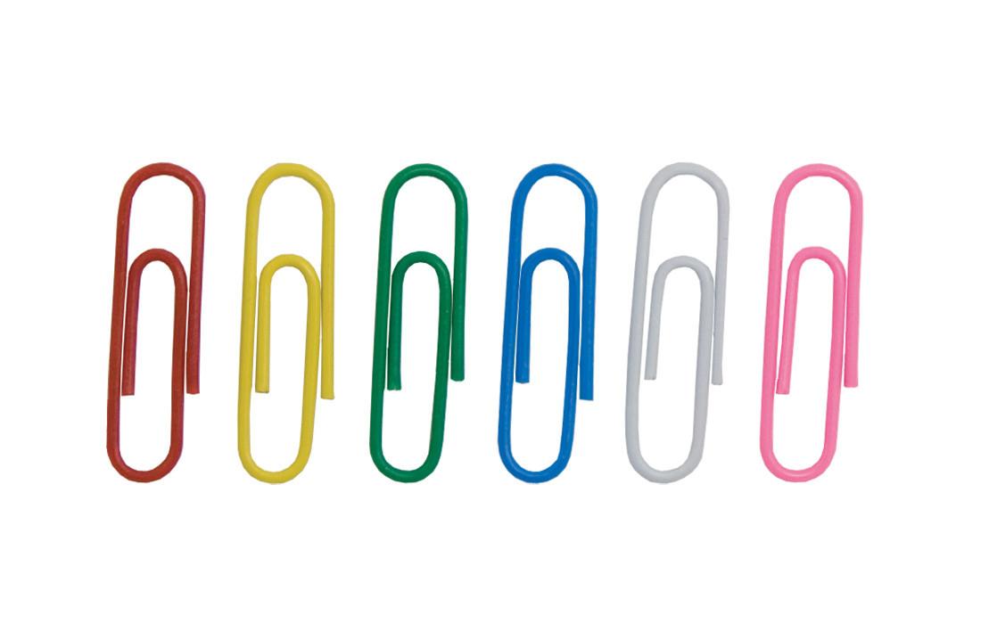 Скрепки 28мм цветные 100 шт. круглые