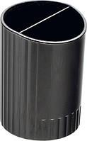 Стакан для ручек круглый на два отделения, JOBMAX, черный