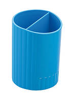 Стакан для ручек круглый на два отделения, синий