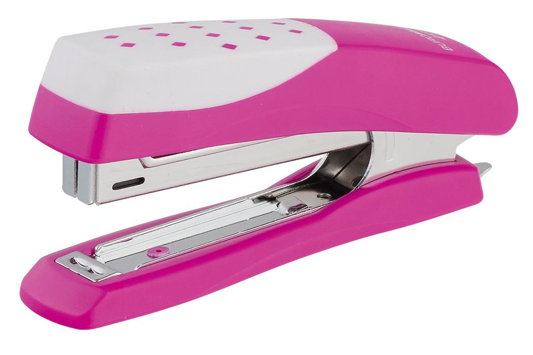 Степлер скобы №10 шахматка розовый