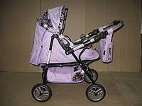 301 Кукольная коляска-трансформер 2в1 с переноской Adbor Mini Ring (сиреневый, цветы на черном), фото 1