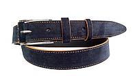 Замшевый ремень 35 мм синий с коричневыми краями пряжка классическая с кожаной вставкой