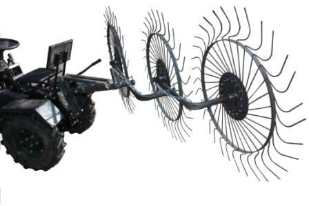Грабли ворошилки для минитрактора Солнышко (на 3 колеса), фото 2