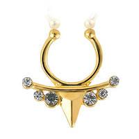 Серьга-обманка в нос Треугольник с декоративными камнями Золото