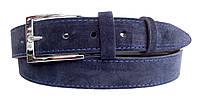Замшевый ремень 35 мм синий пряжка классическая хромированная