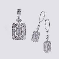 Кулон и серьги из белого золота с бриллиантами  С28Л1№35