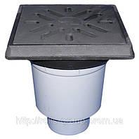 HL606.1 /5 Дворовой трап ПП с чугунной решеткой, подрамник чугун 260*260мм, DN160 мм, Австрия