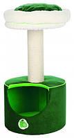 """Домик с когтеточкой """"Фреш Фрутс"""" для кошек и котят, 78см, зеленый/белый"""