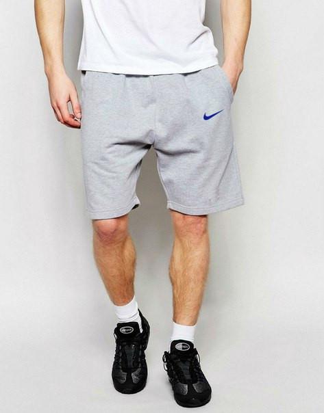 Мужские спортивные шорты Nike серого цвета с синим логотипом