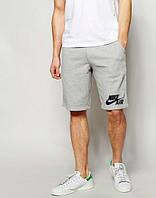 Мужские спортивные шорты Nike серого цвета с черным логотипом, фото 1