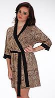 Женский халат с леопардовым принтом De Lafense Jasmin 887