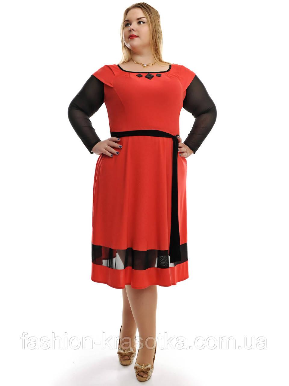 Платье расклешенное с поясом и гипюровыми рукавами ,модель ДК 704