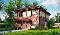 Проект жилого дома, двухэтажный дом, дом из газобетона, строительство из газобетона, коттедж Днепр