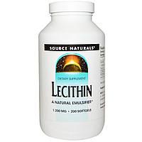 Лецитин Source Naturals, 1,200 мг, 200 гелевых капсул. Сделано в США.