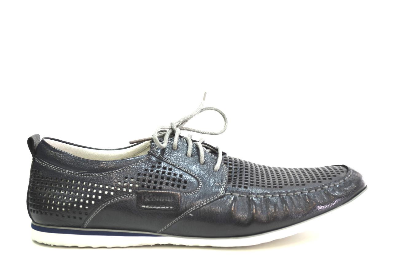 Летние мужские туфли повседневные  из натуральной кожи серые