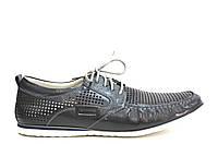 Летние мужские туфли повседневные  из натуральной кожи серые, фото 1