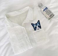 Рубашка женская с котиком в кармане