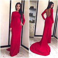 Платье со шлейфом с открытой спиной, фото 1