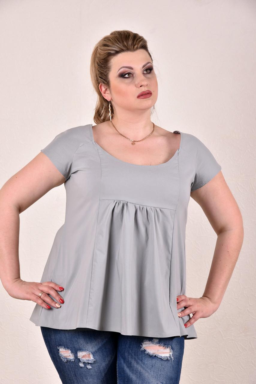 Женская летняя блузка серая 0278-3, с 42 по 74 размер - Shopping-Club в Запорожье