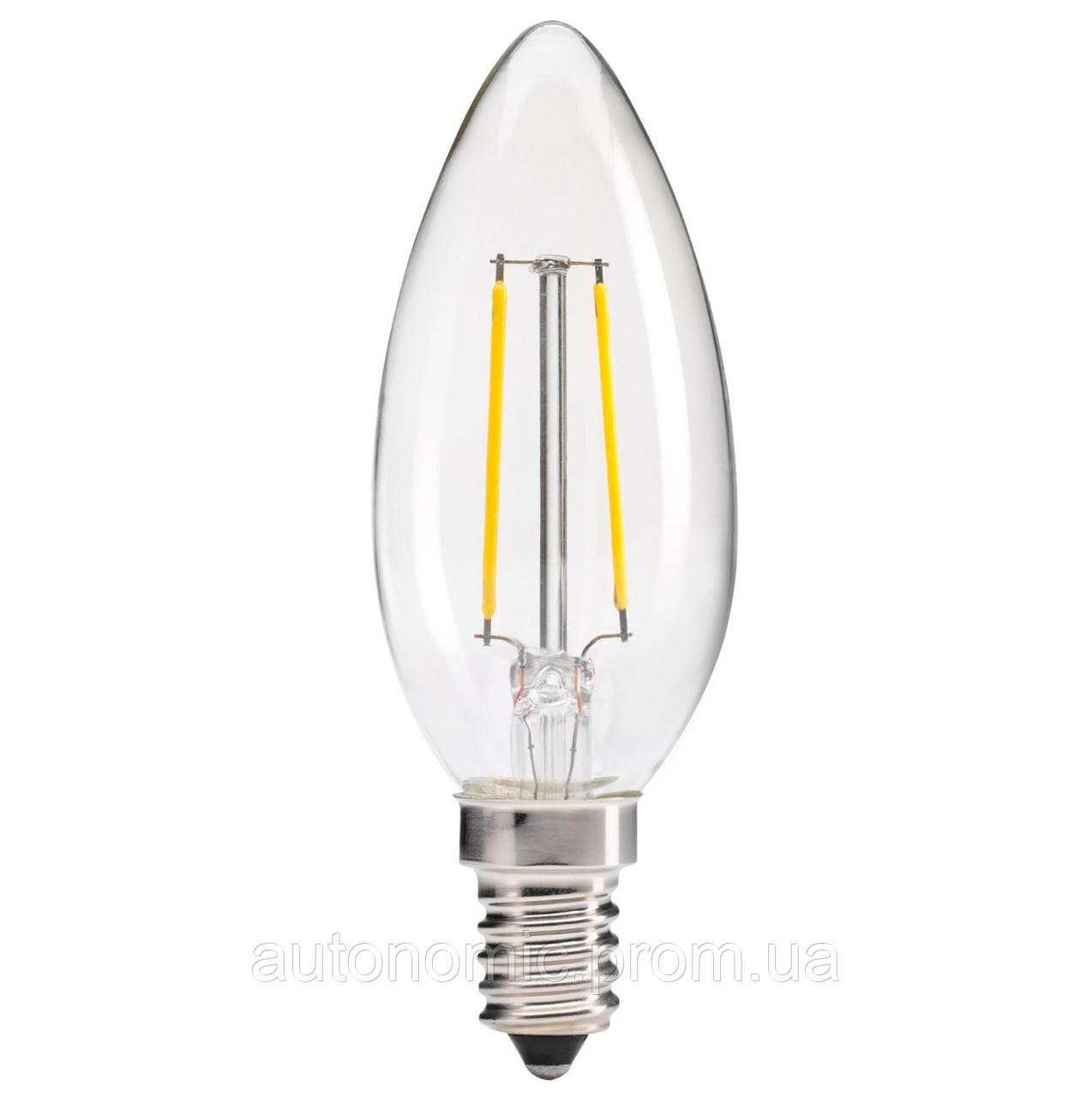 LED лампа LEDEX 2W, Е14, C35 свечка 4000К, FILAMENT, (LC203)
