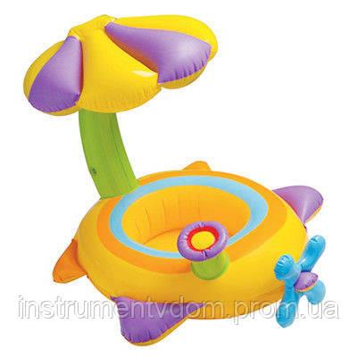 """Детский надувной круг для плавания с сиденьем и навесом INTEX 56580 """"Самолетик"""" (142х80 см)"""