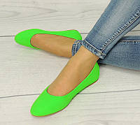 Женские балетки, лодочки туфли  зеленые, на лето и весну