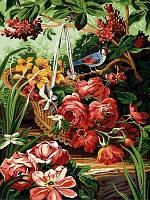 Картина по номерам DIY Babylon Корзинка с розами (VK145) 30 х 40 см