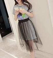 Летний стильный сарафан с фатиновой юбкой