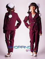Школьный костюм для девочки пиджак+брюки
