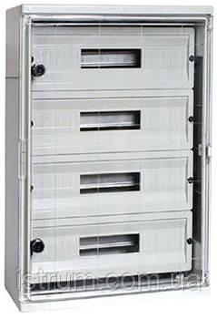 Шкаф ударопрочный из АБС-пластика e.plbox.300.400.165.24m.tr, 300х400х165мм, IP65 с прозрачной дверцей и панелью под 24 модули