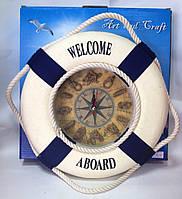 Часы настенные, Спасательный круг, 26 см, Морские сувениры, Морские декоры