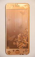 Защитное стекло с рисунком Butterfly iPhone 6/6s bronze