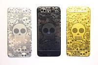 Защитное стекло с рисунком Skull for iPhone 5/5S/SE gold