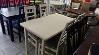 Стол в гостиную деревянный раскладной Сид 120(+30)х70х75 (белый бежевый)