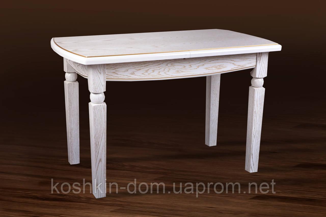 Стол обеденный Кайман белый/патина массив дуба 120(+40)*70 см
