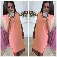 Женское летнее платье классическом стиле со шлейфом из креп - шифона