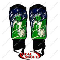 Щитки футбольные с защитой лодыжки FB-0863 (пластик, EVA, l-25 см, сине-зеленый)