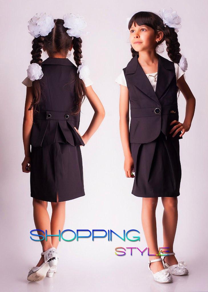 Школьный костюм для девочки жилет+юбка