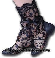 Черные летние стильные ажурные кружевные гипюровые женские сапожки. Арт-0034., фото 1